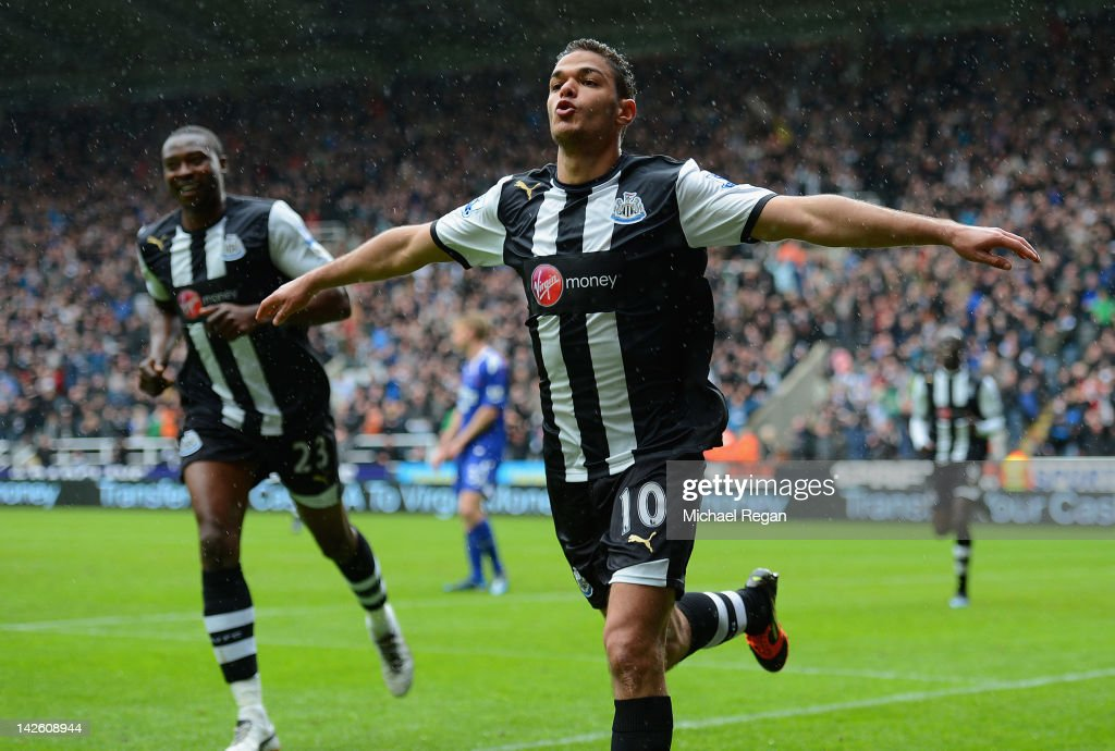 <a gi-track='captionPersonalityLinkClicked' href=/galleries/search?phrase=Hatem+Ben+Arfa&family=editorial&specificpeople=825038 ng-click='$event.stopPropagation()'>Hatem Ben Arfa</a> of Newcastle celebrates scoring to make it 1-0 during the Barclays Premier League match between Newcastle United and Bolton Wanderers at the Sports Direct Arena on April 9, 2012 in Newcastle upon Tyne, England.