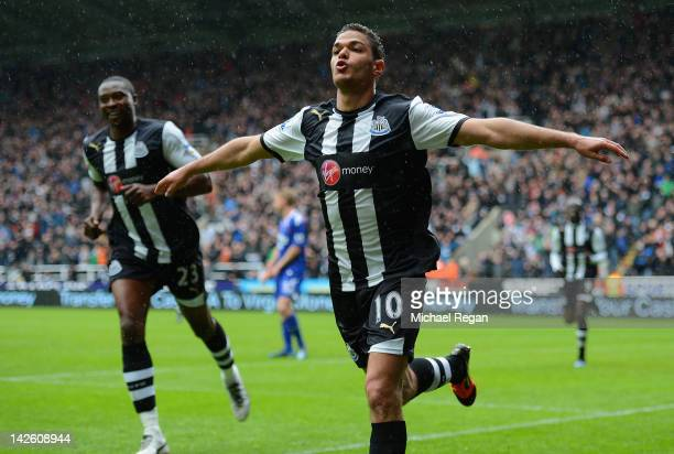Hatem Ben Arfa of Newcastle celebrates scoring to make it 10 during the Barclays Premier League match between Newcastle United and Bolton Wanderers...