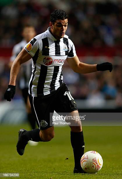 Hatem Ben Arfa of Newcastle in action during the UEFA Europa League quarter final second leg match between Newcastle United and SL Benfica at St...