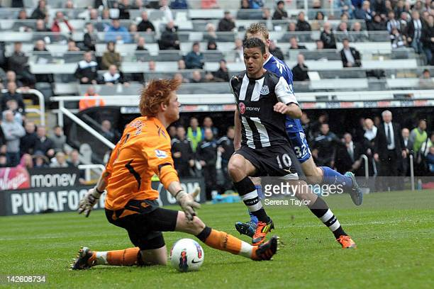 Hatem Ben Arfa of Newcastle scores the opening goal during the Barclays Premier League match between Newcastle United and Bolton Wanderers at The...