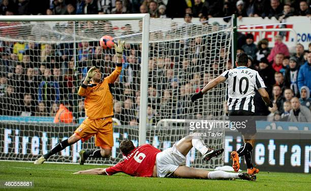 Hatem Ben Arfa of Newcastle strikes the ball towards Cardiff City's Goal Keeper David Marshall during the Budweiser FA Cup third round match between...