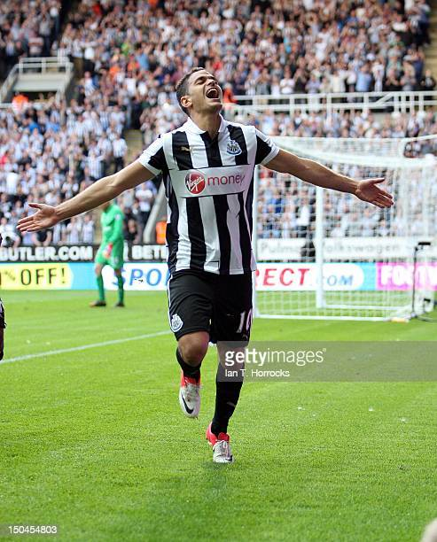 Hatem Ben Arfa of Newcastle United celebrates after he scored their second goal from the penalty spot during the Barclays Premier League match...