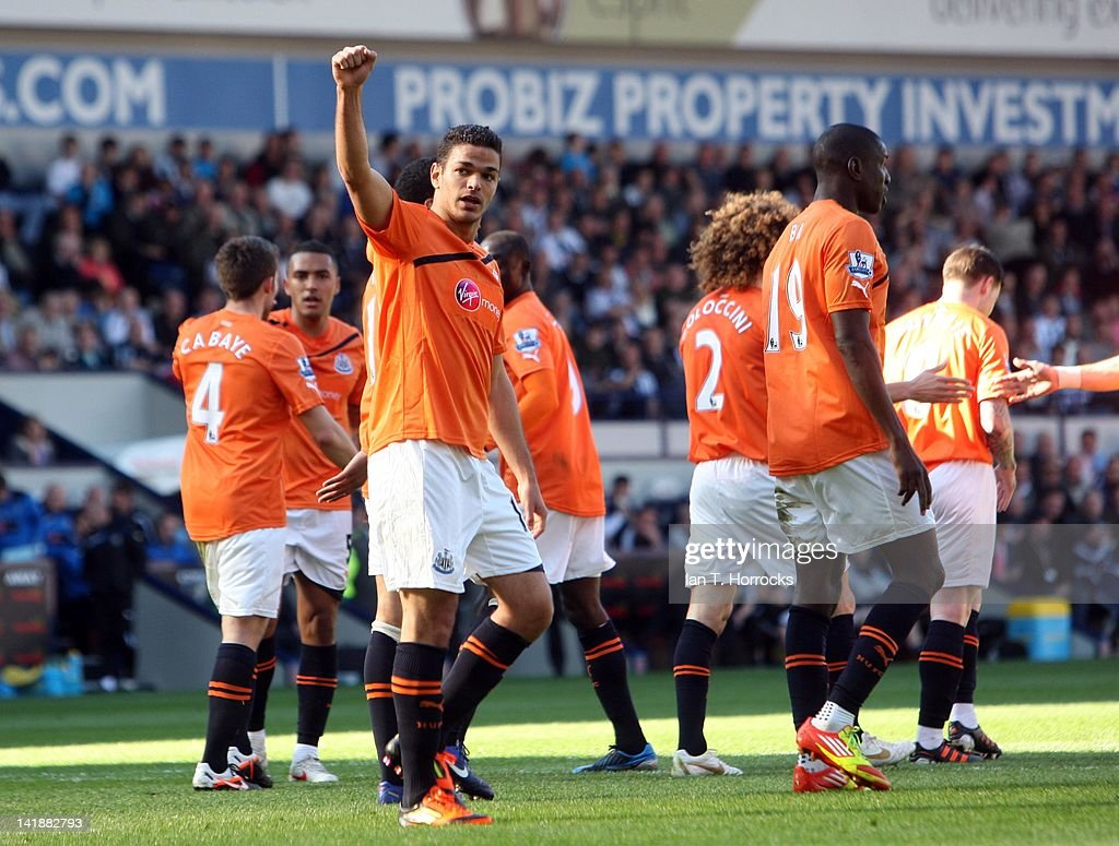 <a gi-track='captionPersonalityLinkClicked' href=/galleries/search?phrase=Hatem+Ben+Arfa&family=editorial&specificpeople=825038 ng-click='$event.stopPropagation()'>Hatem Ben Arfa</a> of Newcastle United celebrates after scoring the second goal during the Barclays Premier League match between West Bromwich Albion and Newcastle at The Hawthorns on March 25, 2012, in West Bromwich, England.