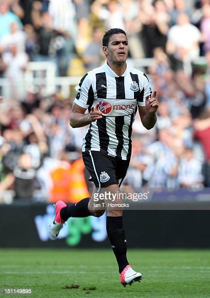 Hatem Ben Arfa of Newcastle United celebrates after scoring the equalizing goal during the Barclays Premier League match between Newcastle United and...