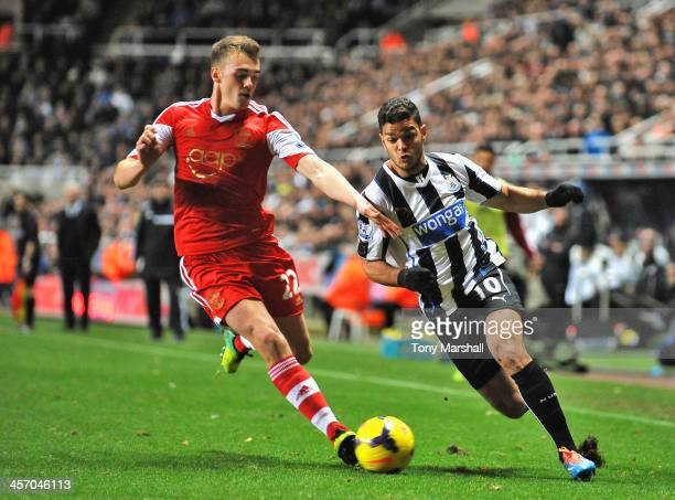 Hatem Ben Arfa of Newcastle United looks to get around Calum Chambers of Southampton during the Barclays Premier League match between Newcastle...