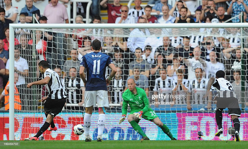 Hatem Ben Arfa of Newcastle United scores his team's second goal, from a penalty kick, during the Barclays Premier League match between Newcastle United and Tottenham Hotspur at Sports Direct Arena on August 18, 2012 in Newcastle upon Tyne, England.