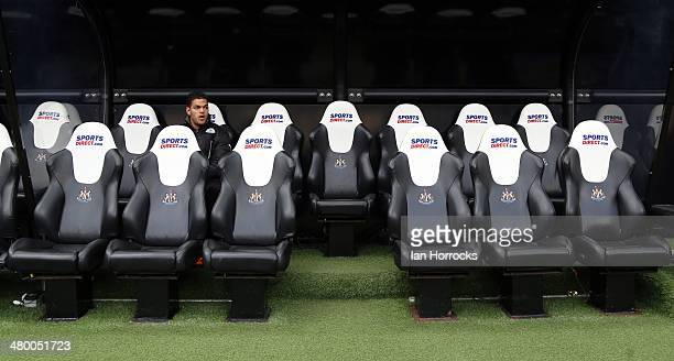 Hatem Ben Arfa of Newcastle United sits on the bench during the Barclays Premier League match between Newcastle United and Crystal Palace at St...