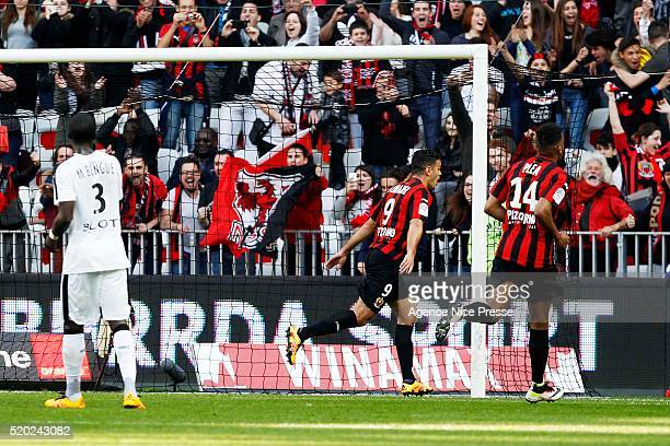 Hatem Ben Arfa of OGC Nice celebrates after scoring during the French League 1 match between OGC Nice and Stade Rennes at Allianz Riviera on April 10...