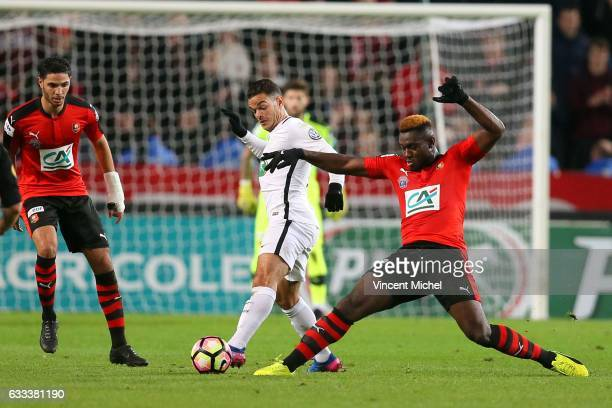 Hatem Ben Arfa of Paris SaintGermain and Joris Gnagnon of Rennes during the French National Cup match between Stade Rennais and Paris Saint Germain...