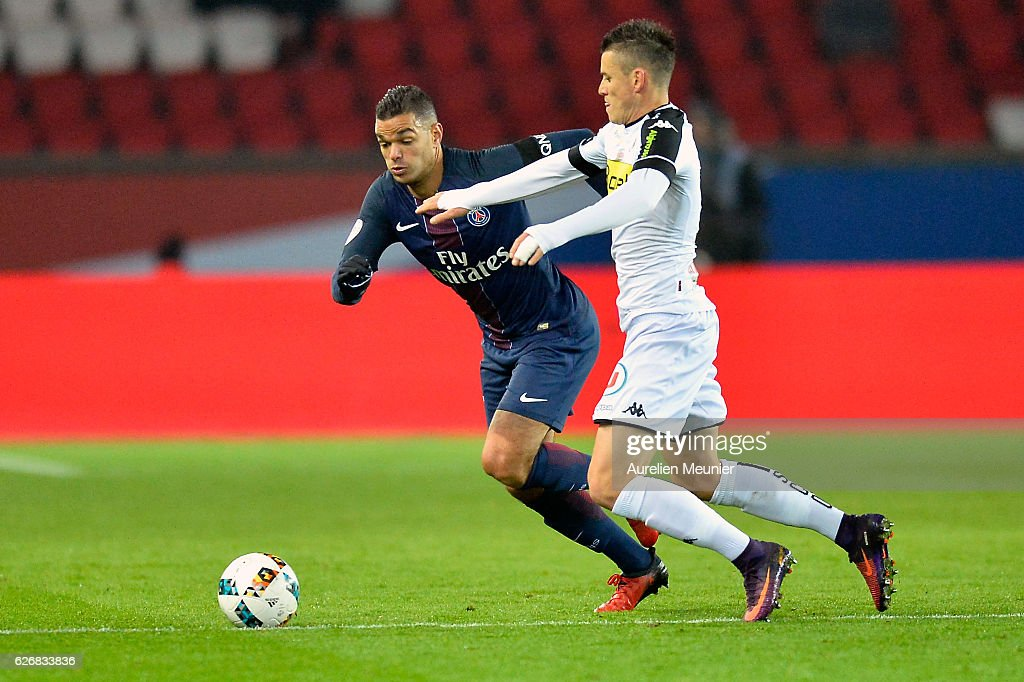 Hatem Ben Arfa of Paris Saint-Germain fights for the ball during the Ligue 1 match between Paris Saint-Germain and Angers SCO at Parc des Princes on November 30, 2016 in Paris, France.