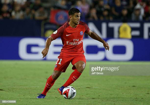 Hatem Ben Arfa of Paris SaintGermain in action against Leicester City during the 2016 International Champions Cup at StubHub Center on July 30 2016...