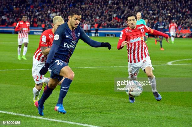 Hatem Ben Arfa of Paris SaintGermain runs with the ball during the French Ligue 1 match between Paris Saint Germain and Nancy at Parc des Princes on...