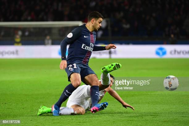 Hatem Ben Arfa of PSG and Anwar El Ghazi of Lille during the French Ligue 1 match between Paris Saint Germain and Lille at Parc des Princes on...
