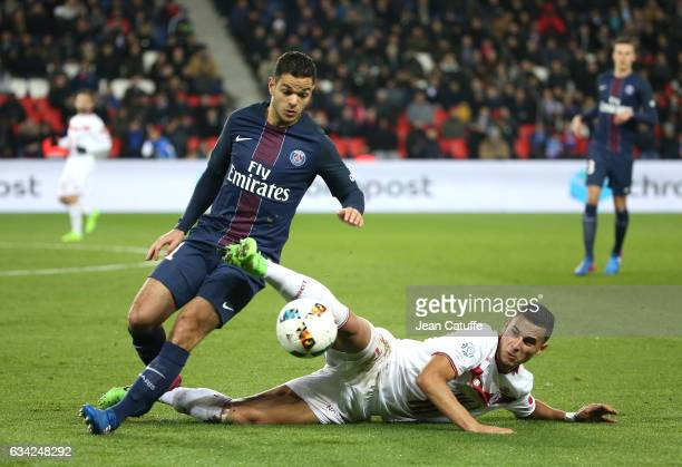 Hatem Ben Arfa of PSG and Anwar El Ghazi of Lille in action during the French Ligue 1 match between Paris SaintGermain and Lille OSC at Parc des...
