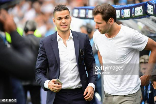 Hatem Ben Arfa of PSG and Grzegorz Krychowiak of PSG who were not selected for the National Cup Final match between Angers SCO and Paris Saint...