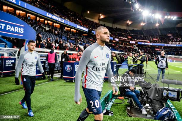 Hatem Ben Arfa of PSG and Layvin Kurzawa of PSG during the French Ligue 1 match between Paris Saint Germain and Lyon at Parc des Princes on March 19...