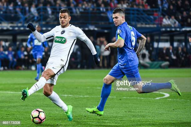 Hatem Ben Arfa of PSG and Maxence Derrien of Avranches during the French National Cup Quarter Final match between Us Avranches and Paris Saint...