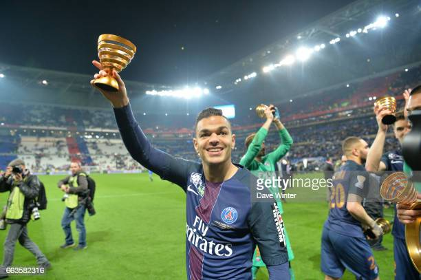 Hatem Ben Arfa of PSG celebrates winning the French League Cup Final between Paris Saint Germain and Monaco at Parc Olympique on April 1 2017 in Lyon...