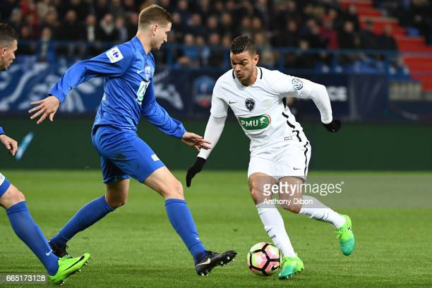 Hatem Ben Arfa of PSG during the French National Cup Quarter Final match between Us Avranches and Paris Saint Germain at Stade Michel D'Ornano on...