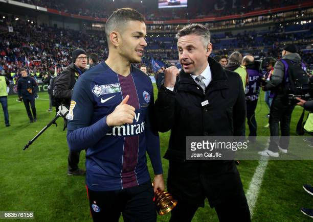 Hatem Ben Arfa of PSG is interviewed by Olivier Tallaron of Canal Plus following the French League Cup final between Paris SaintGermain and AS Monaco...