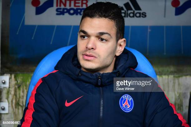 Hatem Ben Arfa of PSG on the bench during the French Ligue 1 match Marseille and Paris Saint Germain at Stade Velodrome on February 26 2017 in...