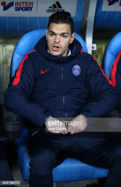Hatem Ben Arfa of PSG seats on the bench during the French Ligue 1 match between Olympique de Marseille and Paris Saint Germain at Stade Velodrome on...