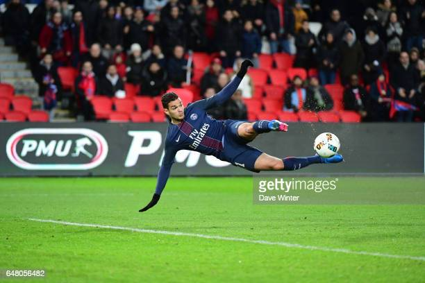 Hatem Ben Arfa of PSG tries an acrobatic shot during the French Ligue 1 match between Paris Saint Germain and Nancy at Parc des Princes on March 4...