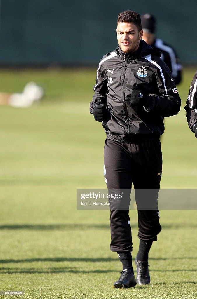 Hatem Ben Arfa warms up during a Newcastle United training session at the Little Benton training ground on February 28, 2013 in Newcastle upon Tyne, England.