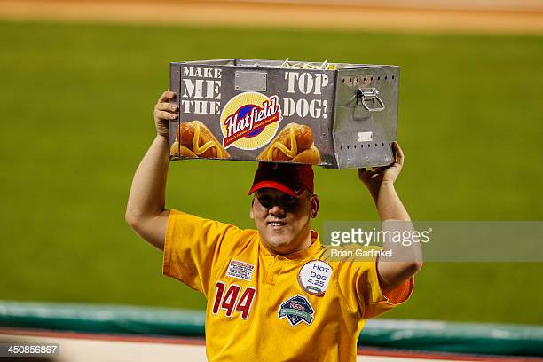 Hatfield Hot Dog vendor carries a Hot Dog tray during the game between the Washington Nationals and the Philadelphia Phillies at Citizens Bank Park...