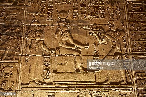 Hathor goddess in Philae Temple, Aswan Egypt