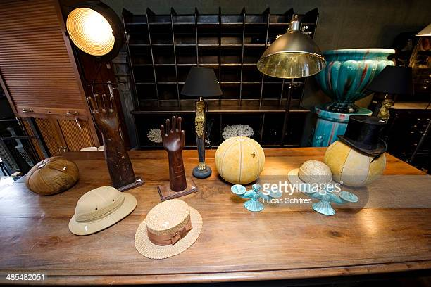 Hats and other items in SaintOuen flea market on February 8 outside Paris France The Paris Flea Market opened in 1885 Located in a popular district...