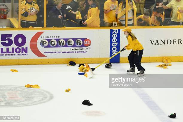 Hats are cleared from the ice late in Game Six of the Western Conference Final between the Nashville Predators and the Anaheim Ducks during the 2017...