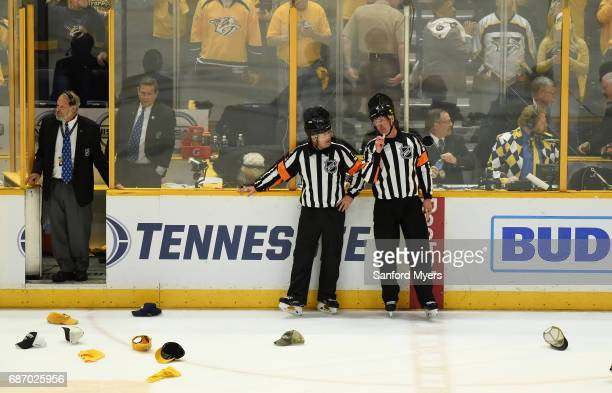Hats are seen on the ice late in Game Six of the Western Conference Final between the Nashville Predators and the Anaheim Ducks during the 2017...