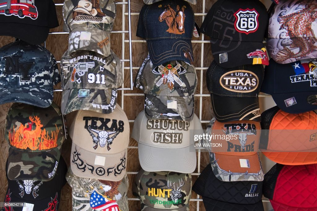 Hats for sale at a shop next to the Laredo Port of Entry foot ...