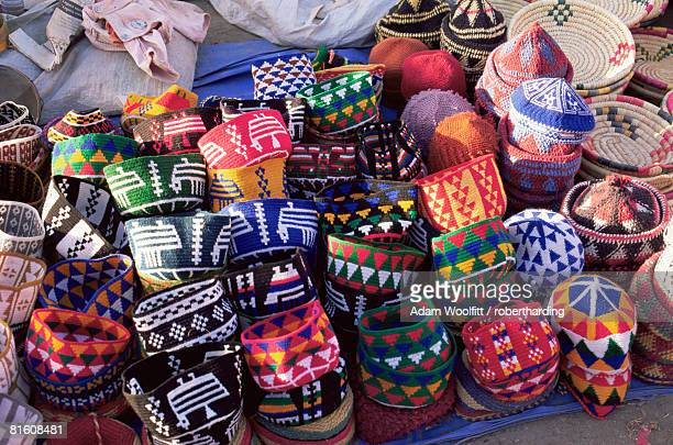 Hats for sale in the souk in the Medina, Marrakesh (Marrakech), Morocco, North Africa, Africa