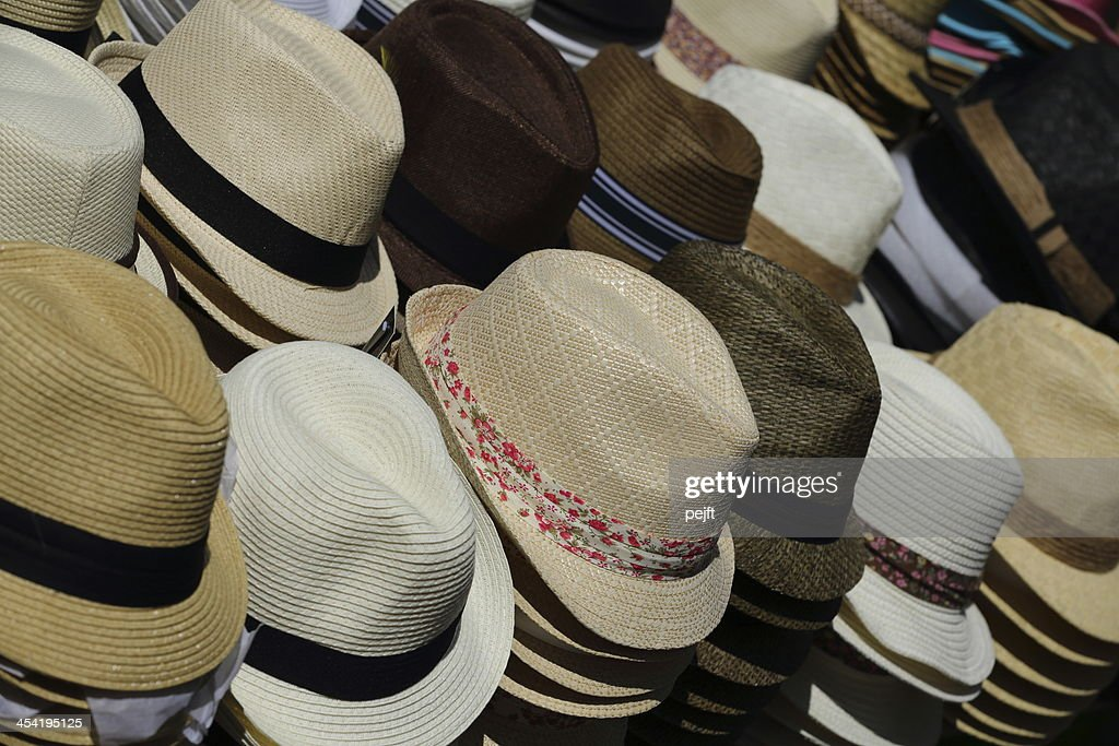 Hats for sale on market : Stock Photo