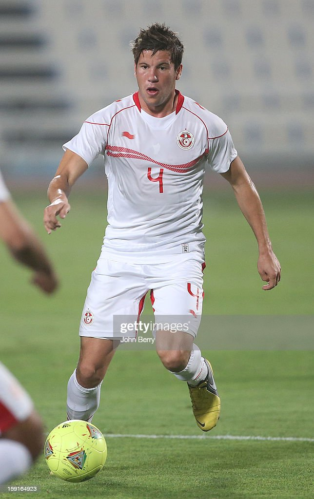 Hatten Baratli of Tunisia in action during the international friendly game between Tunisia and Ethiopia at the Al Wakrah Stadium on January 7, 2013 in Doha, Qatar.