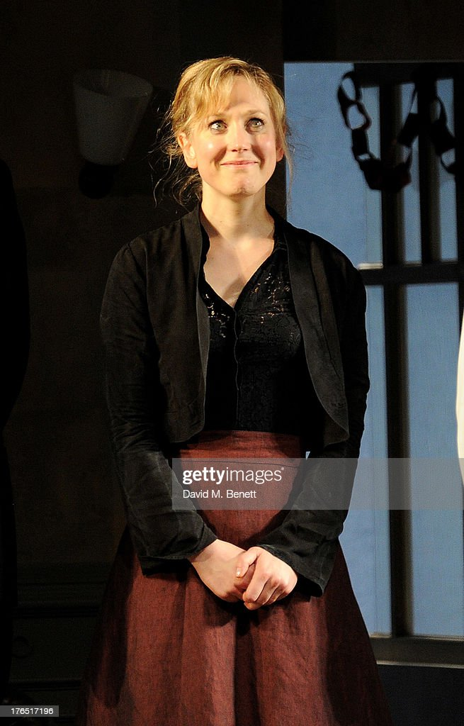 Hattie Morahan bows at the curtain call during the press night performance of 'A Doll's House' at the Duke Of Yorks Theatre on August 14, 2013 in London, England.