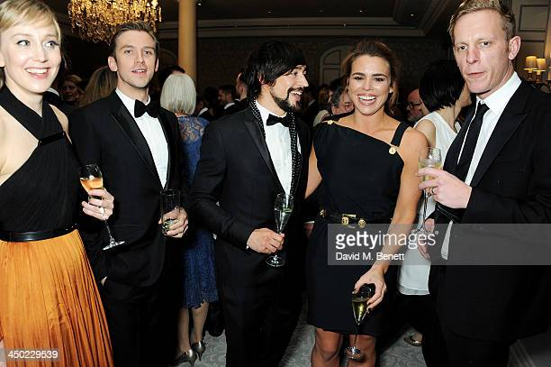 Hattie Morahan Dan Stevens Blake Ritson Billie Piper and Laurence Fox attend a drinks reception at the 59th London Evening Standard Theatre Awards at...