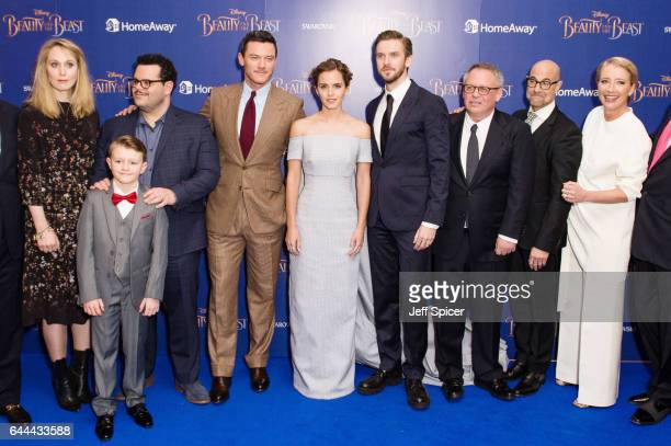 Hattie Morahan Nathan Mack Josh Gad Luke Evans Emma Watson Dan Stevens Bill Condon Stanley Tucci and Emma Thompson attend the UK Launch Event of...