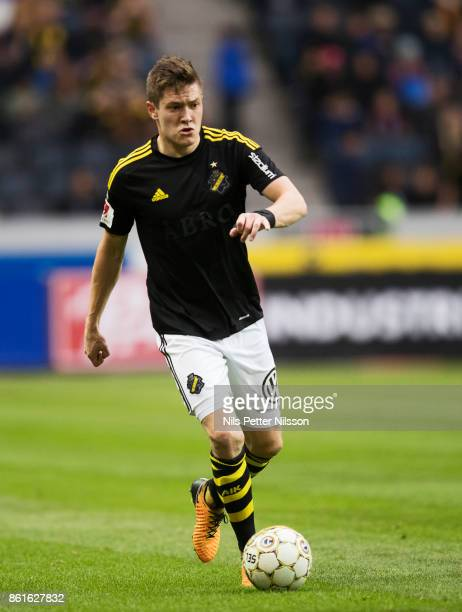 Haukur Hauksson of AIK during the Allsvenskan match between AIK and Jonkopings Sodra IF at Friends Arena on October 15 2017 in Solna Sweden