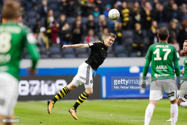 Haukur Hauksson of AIK shoots a header during the Allsvenskan match between AIK and Jonkopings Sodra IF at Friends Arena on October 15 2017 in Solna...