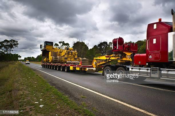 Haul Truck Delivery on semi trailer