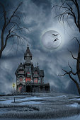 Dark haunted house set on swamp under a full moon night sky