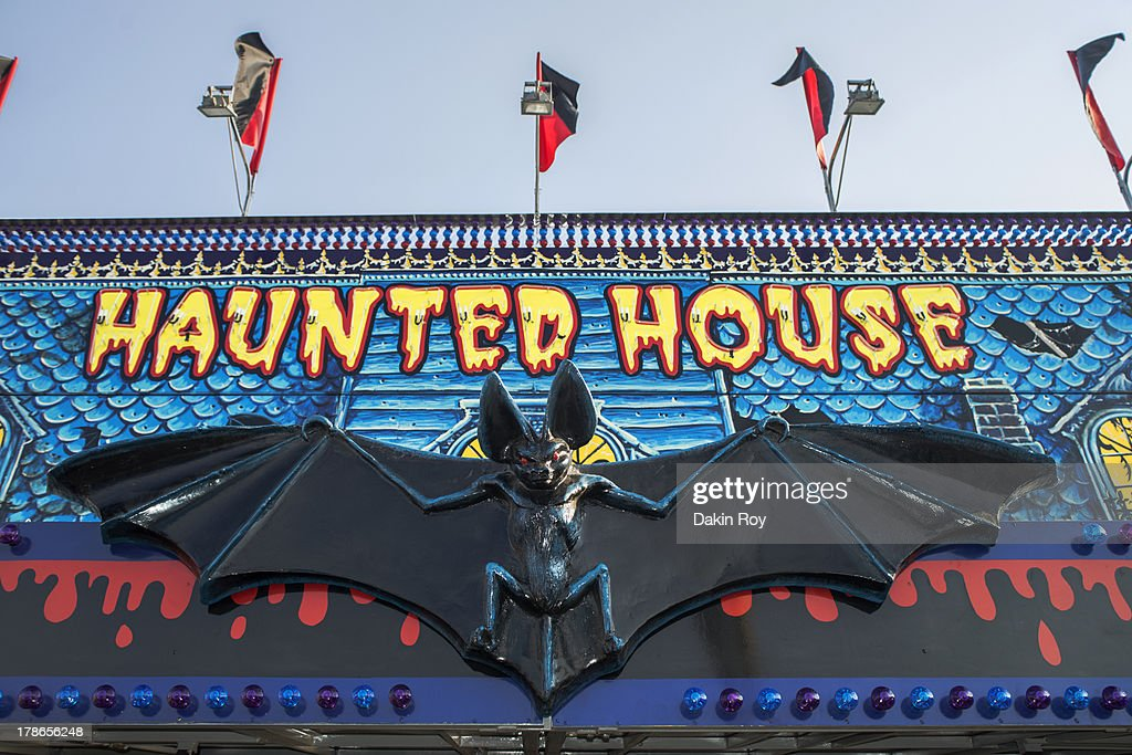 Haunted House sign at the  Dutchess County Fair : Stock Photo