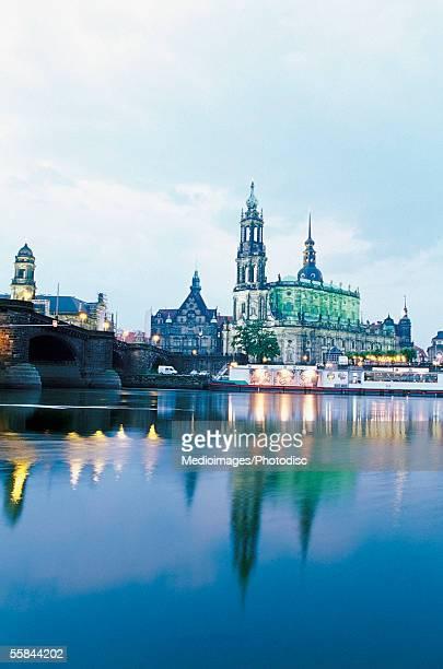 Haussman Tower and Catholic Court Church from Carola Bridge on Elbe River, Dresden, Germany