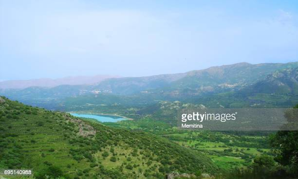 Haute Balagne Panorama on Corsica island with view of Codole Lake