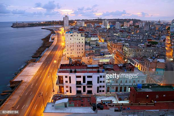Havana, Cuba illuminated at early morning, elevated view