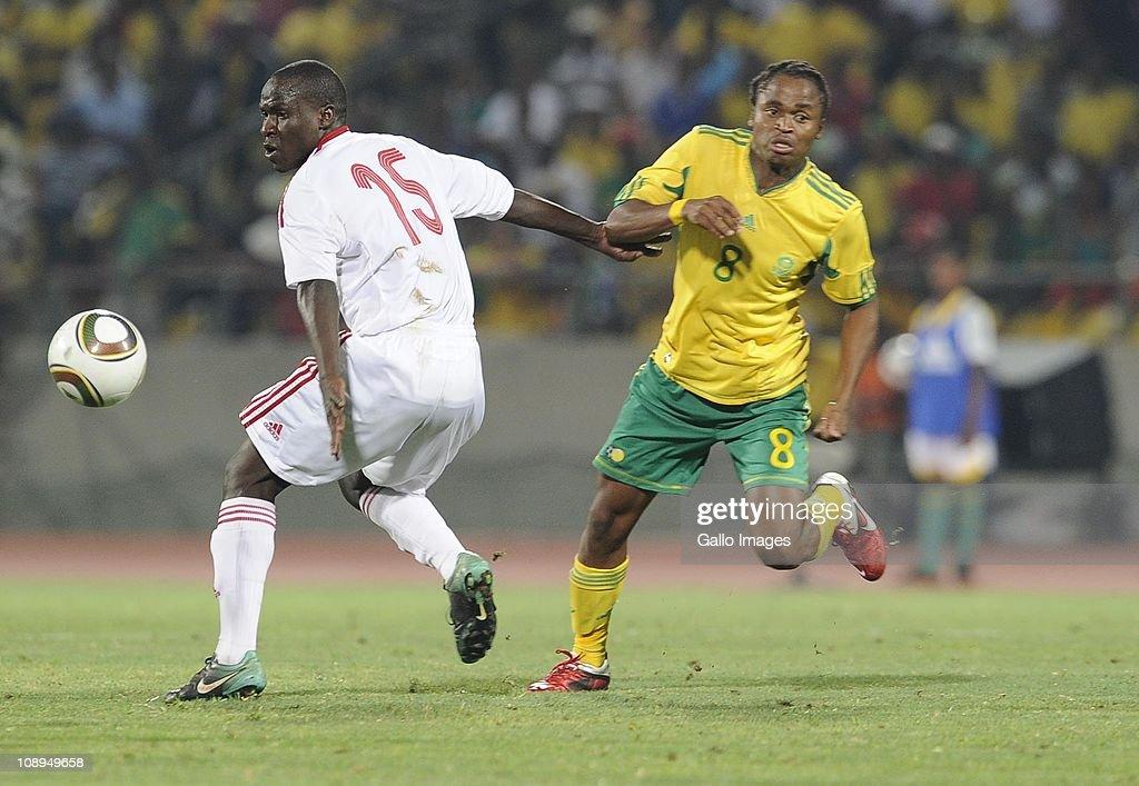 Havana Maloba and Siphiwe Tshabalala during the International friendly match between South Africa and Kenya at Royal Bafokeng Stadium on February 09, 2011 in Rustenburg, South Africa.