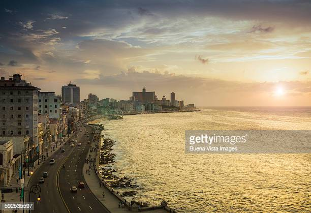 Havana. View of El Malecon at sunset